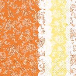 Lara orange, Home Fashion, 3-lags, 1/4 fold, design, gul/orange, papir, 25x25 cm (240 stk)